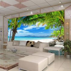 Wallpaper Bedroom Living Mural Beach island Coconut Modern Wall Background for sale online Palm Tree Wallpaper Mural, Tree Wallpaper Bedroom, Cheap Wallpaper, Bedroom Murals, Wallpaper Online, Custom Wallpaper, Wall Wallpaper, Bedroom Tv, Bedroom Office