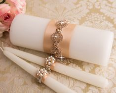 Rose Gold Crystal Unity Candles Set Wedding Candles by BridalQueen