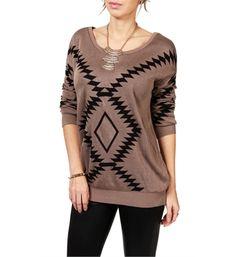 Mocha/Black Southwest Print Sweater