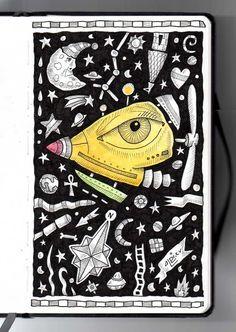 Ilustrador Alexiev Gandman: Una Nave Ojo en mi libreta Brügge con tinta y acuarela