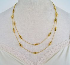 Vintage 1992 Signed Avon Golden Accent Gold Tone Double Strand Ball Beaded Matinee Length Traditional Preppy Necklace in Original Box NIB by ThePaisleyUnicorn on Etsy