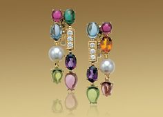 Bulgari: COLOR COLLECTION 2-row pendant earrings in 18kt yellow gold with pink and green tourmalines, peridots, amethysts, blue topazes, citrine quartz, Akoya cultured pearls and pavé diamonds.