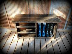 "Black 42"" Shoe Rack Bench - 3 Shelves & Cubby"