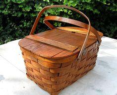 1950's picnic | Vintage 1950s Split Oak Picnic Basket Jerywil - trustyboomer
