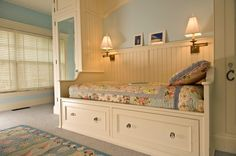 Bedroom design ideas bed storage drawers beadboard wall insulation