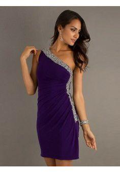 Sheath/Column One Shoulder Sleeveless Chiffon Regency Dresses With Beading…