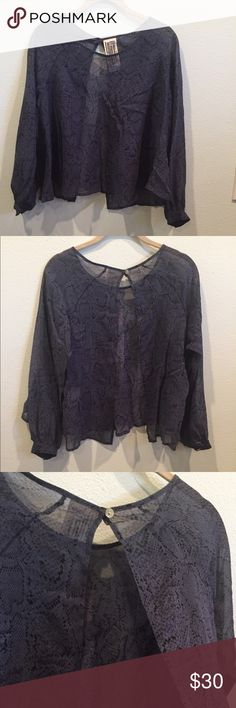 Free People Overlay Crop Top Beautiful Top!  The fabric is sheer made of rayon. It has a slit on the back with one button closing the top. The sleeves are full with buttons. Gorgeous with a black cami and jeans or over a simple black dress!! Free People Tops Crop Tops