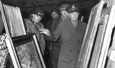 Nazi plunder - Dwight D. Eisenhower (right) inspects stolen artwork in a salt mine in Merkers, accompanied by Omar Bradley (left) and George S. Patton (center) Wikipedia, the free encyclopedia World History, World War Ii, Art History, History Pics, History Images, Modern History, Monument Men, National Archives, Interesting History