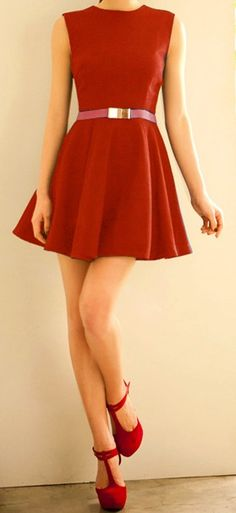 Zipper Sleeveless Simple Style Polyester Round Neck Dress For Women (Without Belt) Little Red Dress, Red Fashion, Fashion Ideas, Spring Fashion, Dress Me Up, Dress Red, Sammy Dress, Dress Collection, Dress To Impress