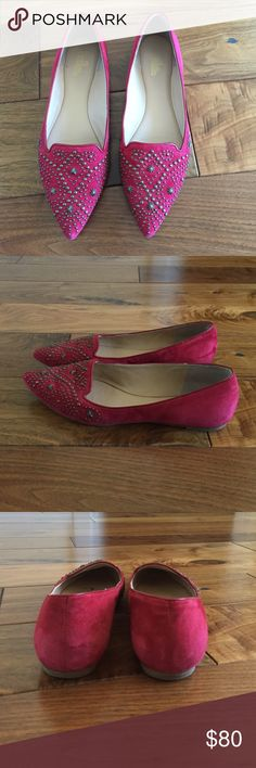 Sassy red pointy toe flat Purchased from Anthropologie, worn 3 times, and in perfect condition.  They have a red suede with brass detail exterior and are lined in leather.  No smoking and no pet household. Belle by Sigerson Morrison Shoes Flats & Loafers