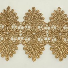 "Gold Metallic Rayon Scalloped Embroidery Lace Trim / 4.2"" Bridal Wedding Unique Lace Applique Trim Annielov Trim Lace #347 - 1 yard (90cm)"