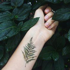 Watercolor Fern Temporary Tattoo wrist ankle body by ArrowTattoo