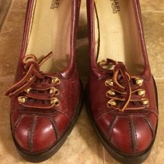 "Selling this ""Michael Kors Red Leather Lace up Heels"" in my Poshmark closet! My username is: acapr220. #shopmycloset #poshmark #fashion #shopping #style #forsale #Michael Kors #Shoes"