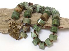 "Green Jasper Necklace by BlondePeachJewelry -- ""This gorgeous Rainforest jasper necklace features uniquely shaped stones and small smoky quartz beads."""