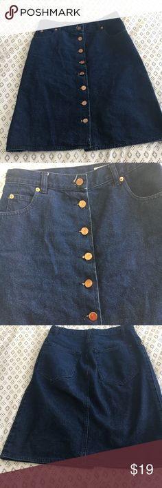 Asos button down denim skirt 4 Perfect condition! Just too small for me Higher waisted ASOS Skirts Midi