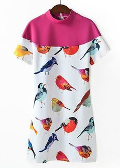 Classical Stand Collar Color Split Dress with Bird