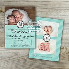 Baptism or Christening invitation for twins. Featuring a photo of your newborns, monogram initial of your last name, and event information in adorable script. A decorative cross watermark is the finishing touch. Wording can be changed to meet your needs - Confirmation, Christening or Baptism. The back of the card features a coordinating design with our shop name and logo, featuring additional photos of your babies and optional names with monogram in the center.  by DazzleDesignGraphics on…