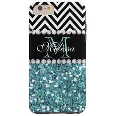 BLUE GLITTER BLACK CHEVRON MONOGRAMMED TOUGH iPhone 6 PLUS CASE GIRLY LIGHT BLUE GLITTER (PRINTED EFFECT) WITH BLACK AND WHITE CHEVRON PATTERN, MONOGRAMMED WITH YOUR NAME, YOUR INITIAL OR MONOGRAM ON A BLACK STRIPE OR BAND WITH A BORDER OF PRINTED WHITE DIAMONDS. TRENDY, CHIC COOL CUTE DESIGN FOR HER, THE TRENDSETTER, THE FASHIONISTA #chevron #glitter #blue #black #monogram #initial #monogrammed #personalized #girly #diamonds #bling...