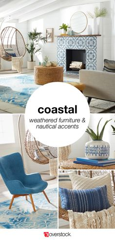 Getting a cozy seaside look is easy with these Coastal Furniture & Decor Ideas from Overstock. From weathered furniture to unique nautical accents we'll show you how you can get the Coastal style you love for less. - March 17 2019 at Beach Cottage Style, Coastal Cottage, Beach House Decor, Coastal Style, Coastal Decor, Coastal Interior, Coastal Bedrooms, Coastal Living Rooms, Living Room Decor