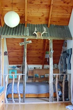 . . . wishing for a cabin to do this for my grandson...so cool . . .coolest boys rooms                                                                                                                                                     More