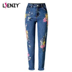 Jeans strappati a vita alta per donna Pantaloni Jeans skinny slim fit Denim Boyfriend Lace Slim Stretch Holes Pencil Pants