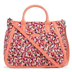 """Vera Bradley trapeze tote in pixie confetti Trapeze tote in pixie confetti with coral trim, Brand new with tags. Very versatile, large tote that features double handles plus a removable long shoulder strap. Faux leather. Plenty of organization inside, including 1 zipped pocket, 3 slip pockets and a front slip pocket. 5"""" handle drop, and 39"""" removable strap Vera Bradley Bags Totes"""