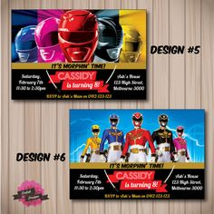POWER RANGERS Invitation Choose from 6 Designs by DaliahDesigns