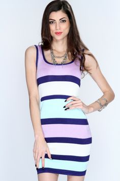 Looking for the perfect little number to wear to the 80s party of the year?  have everyone talking and gawking at you as u flaunt this sizzling hot dress! All the pretty little ladies will be asking where u bought this sexy piece! Featuring colorblock stripe printed pattern, sleeveless, scoop neckline, crisscross back cutout, ribbed texture, and finished with a sexy curvacious tight fit. 72% polyester 18% nylon 10% spandex.