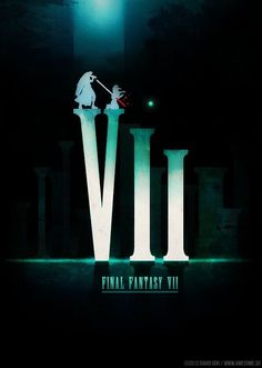 Revisiting Video Game Symbols - Final Fantasy VII by David Goh Final Fantasy Vii Remake, Final Fantasy Artwork, Final Fantasy Characters, Fantasy Posters, Video Game Symbols, Video Game Art, Video Games, Manga Anime, Final Fantasy Collection