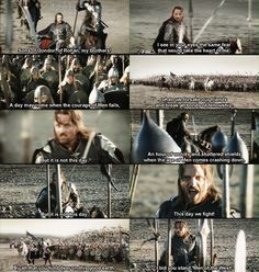 Aragorn's speech at the Black Gate. Arguably the greatest pre-battle speech in movie history.