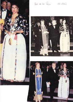 Princess Caroline with parents Princess Grace and Prince Rainier III of Monaco at the Rose Ball.1982.
