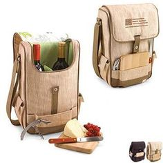 Volare Wine & Cheese Insulated Tote Set comes with wine and cheese service, including a hardwood cheese board, stainless steel cheese knife with wooden handle and a stainless steel corkscrew. Features 2 compartments for wine. The adjustable shoulder strap makes it easy to carry.
