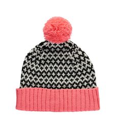 Miss Pom Pom Coral and Black Graphic Beanie Hat - Trouva