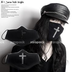 Designer Fashion 3 Layer Cotton Face Mask Mouth Mask Muffle Rhinestone Cross #Unbranded