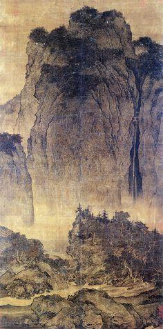 """""""Viajeros a través de montañas y valles"""" de Fan Kuan"""