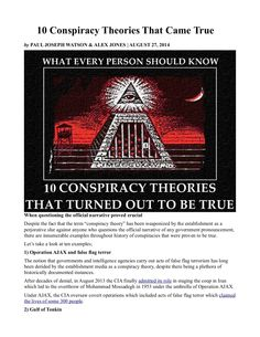 10 Conspiracy Theories That Came True INFOWARS.COM BECAUSE THERE'S A WAR ON FOR YOUR MIND