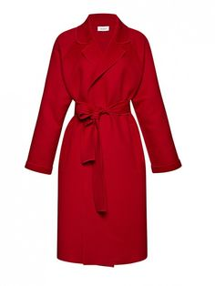 Isa Arfen Belted Wool and Cashmere-Blend Coat in red