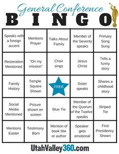 <p>Settle in, get the treats ready and printyour Bingo board printcourtesy of UtahValley360.com. The 187th Annual General Conference for The Church of Jesus Christ of Latter-day Saints is this weeke