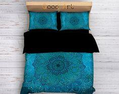 Bohemian Bedding,Boho Duvet Cover,Hippie Bedding,Mandala Bedding Set,Ethno Bedding Set,Mandala Duvet Cover,Indie Bedding,Teal Bedding