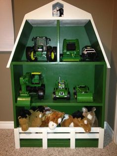 10 Creative Toy Storage Tips for Your Kids John Deere Kids, John Deere Baby, John Deere Boys Room, John Deere Bedroom, John Deere Nursery, Creative Toy Storage, Lego Storage, Kids Barn, Green Barn