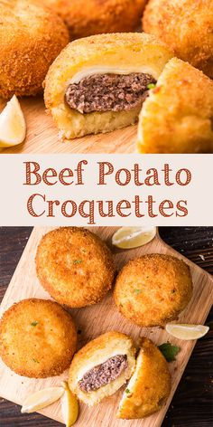 Beef potato croquettes are Indonesian fried potato patties. This recipe is made of mashed fried potatoes and then mixed or filled with ground beef. Ground Beef And Potatoes, Fried Potatoes, Potato Dishes, Beef Dishes, Potato Fry, Veal Recipes, Cooking Recipes, Sausage Recipes, Meat And Potatoes Recipes