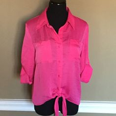 Ellen Tracy Button-Down Blouse Beautiful top in bright pink, ties at waist.  Roll sleeves up or down.  Pair with dark skinny Capri jeans or white pants.  100% polyester. Ellen Tracy Tops Button Down Shirts