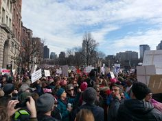 """""""Never seen a crowd like this in Boston"""". #womensmarch"""