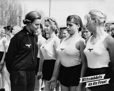 STRANGE WWII PICTURES - GERMAN WOMEN LINEUP FOR INSPECTION BY FEMALE GYM TEACHER - HEALTH AND FITNESS VERY IMPORTANT! - BLIITZMADELS