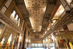 """Avalon_Theatre. The lobby ceiling design was inspired by a persian rug and was called ''the largest flying carpet in the world""""."""