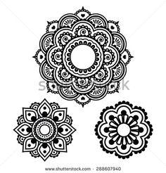 Indian Henna tattoo round design - Mehndi pattern - stock vector