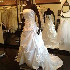 Beaded bodice with pick ups DAVID'S V 9292 WEDDING DRESS GOWN SZ 12 WHITE LAYE $299 at thegreenbridedenver.com