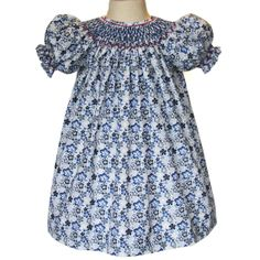 490c8578efb Demure floral blue and gray bishop dress a hint of by CarouselWear