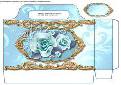 A lovely Aqua Tote bag to make and give to anyone with a little Present has lovely arrangement of roses with gold filigree   please remember to print twice to complete this bag ,