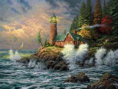Kinkade, Thomas (b,1958)- Lighthouse, III